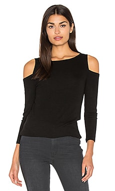 2x1 Rib 3/4 Sleeve Cold Shoulder Top in Black