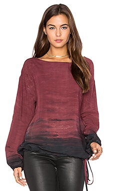 Long Sleeve Haze Print Blouse in Pinot
