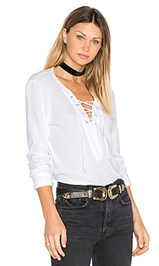 Long Sleeve Tie Neck Top in White