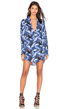 Cannes Long Sleeve V Neck Tunic in Hawaiian Coastal Blue