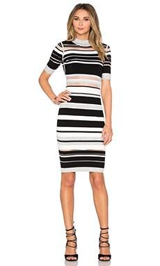 Invisible Stripe Cutout Dress in Neutral Multi
