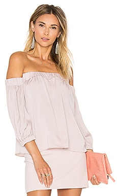 Silk Off The Shoulder Blouse in Petal