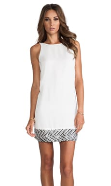 Sequin Hem Sleeveless Dress in White