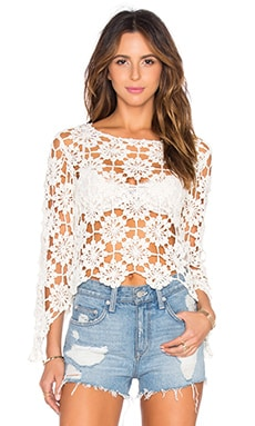 Build Me Up Crochet Top in Off White