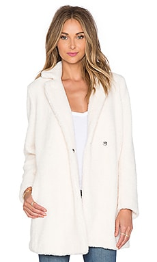 Marise Faux Fur Coat in Craie