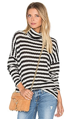 Marshall Striped Turtleneck in Creme & Black