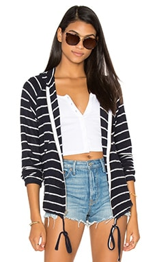 Zayne Zip Up Hoodie in Navy Stripe