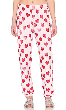 George Super Soft Sweatpant in Tickle Pink & Red Heart