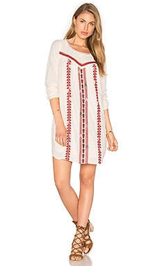 Embroidered Boho Dress in White & Red