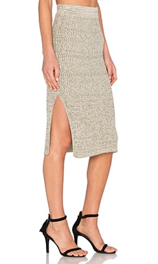Knitted Midi Skirt in Grey