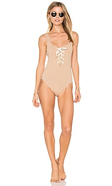 Palm Springs Tie One Piece in Tan & White