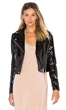 Mustang Patent Biker Jacket in Patent Black