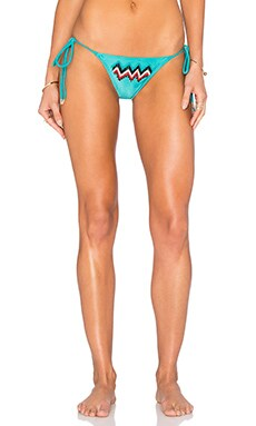 Beaded Trancoso Bikini Bottom in Citrus Turquoise