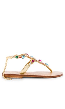 Beaded Sandals in Gold & Multi