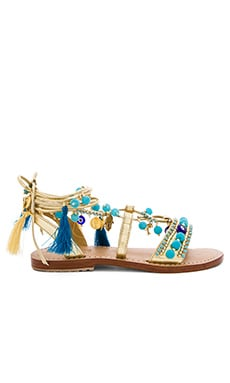 Lace Up Sandals in Gold & Turquoise