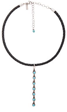 Desert Drop Choker in Leather & Turquoise