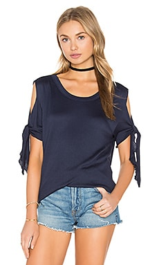 Cold Shoulder Tie Top in Navy