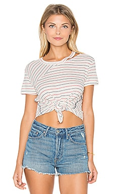 Ryder Cut Out Tee in Cream Stripe