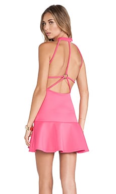 Babe Fit & Flare Dress in Coral