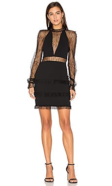 Filigree Lace Halter Plunge Dress in Black