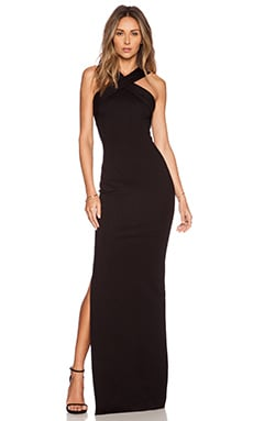 Ponte Cross Front Gown in Black