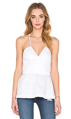 Cotton Double Peplum Cami in White