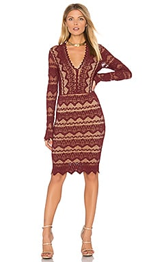 Sierra Lace Deep V Dress in Garnet