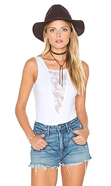Sleeveless Lace Inset Bodysuit in White