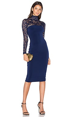 Rebel Heart High Neck Midi Dress in Navy