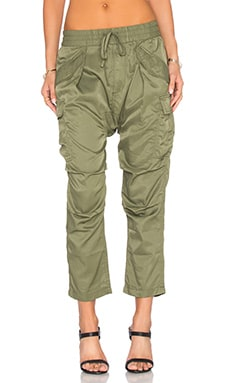 Cupro Harem Cargo Pant in Olive