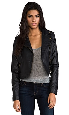 Hideout Moto Jacket with Faux Fur in Black