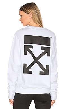 Arrow Crewneck Sweatshirt in White & Black