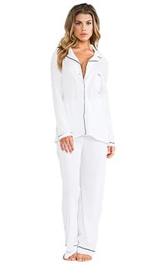 Organic Cotton Piped Pajama Set in White/Black