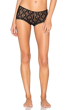 Stretch Lace Ruched Back Hipster in Black