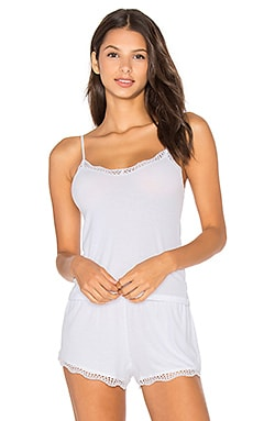 Feather Weight Rib Lace Trim Cami in White