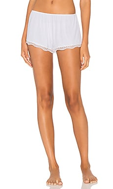 Feather Weight Rib Lace Trim Sleep Short in White