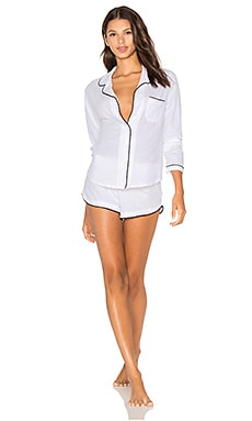 Organic Cotton with Piping Long Sleeve Shorty PJ Set in White & Black