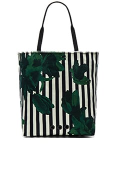 Canvas Tote Bag in Green Floral Stripe
