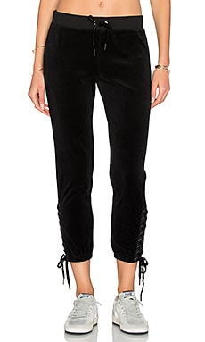 Lace Up Sweat Pant in Black