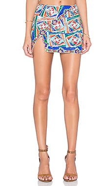 Side Flap Embroidered Mini Skirt in Multi