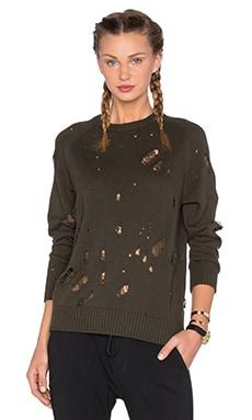 Vida Distressed Sweater in Olive