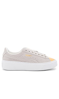Creeper Gold Toe Sneaker in Gold & Star White