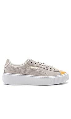 Suede Platform Sneaker in Gold & Star White