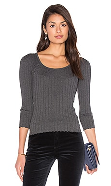 The Rib Long Sleeve Top in Charcoal