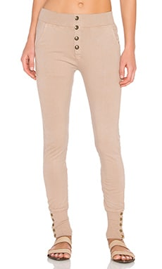 Sweatpant with Brass Buttons in Dark Rose
