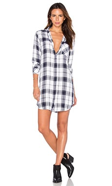 Sawyer Button Down Dress in White & Oxford Blue