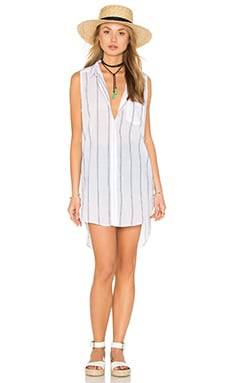 Layla Tank Dress in White & Ash Stripe