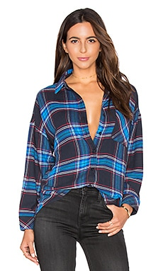 Jackson Flannel Button Down in Black & Azure