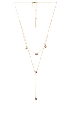 Gem Stone Two Row Lariat Necklace in Gold & Purple