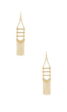 Pave & Fringe Chandelier Earrings in Gold & Crystal
